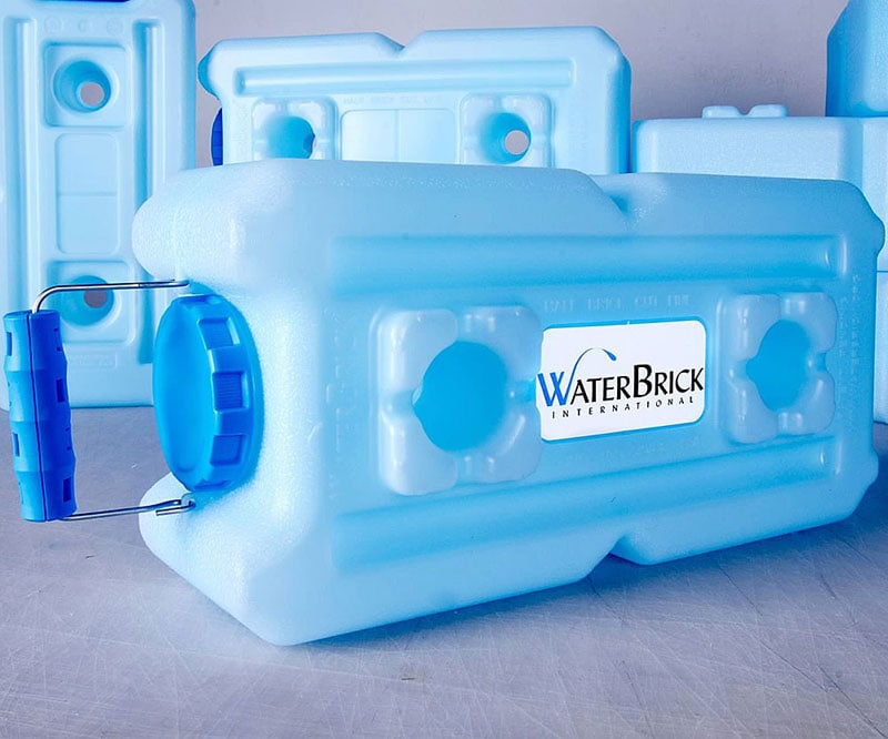 WaterBrick emergency water storage containers.