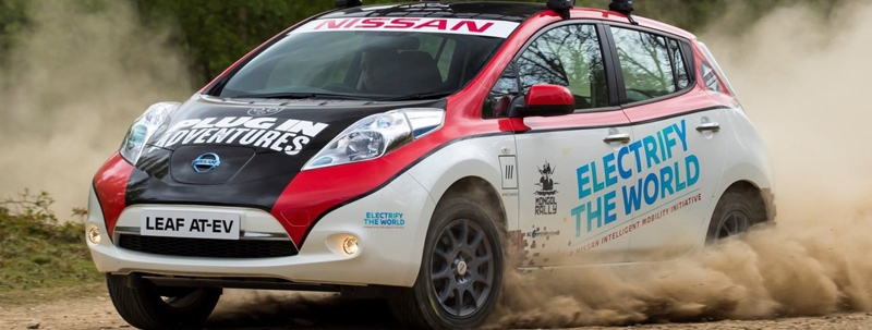 Nissan Leaf driving in the Mogal Car Rally.