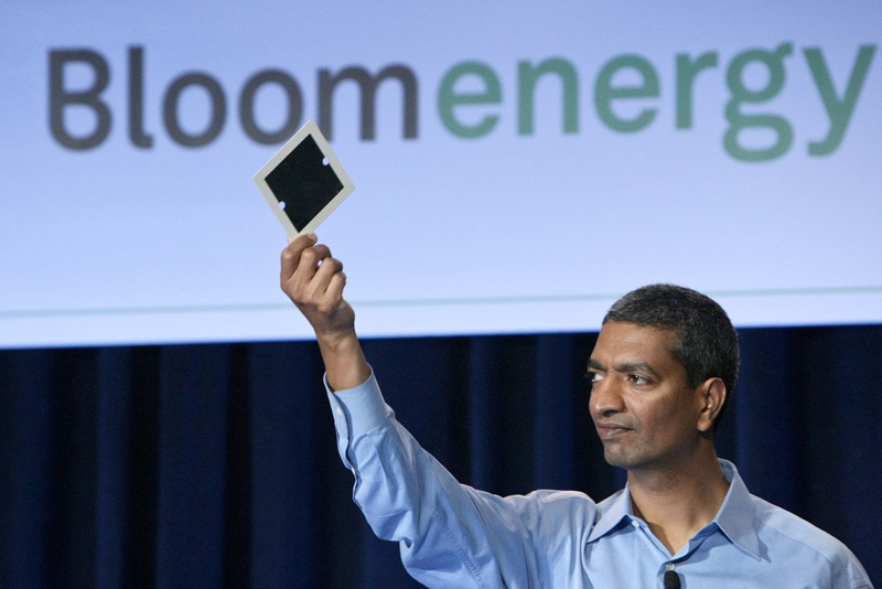 KR Sridhar with Bloom Energy fuel cell.