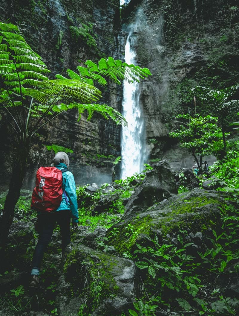 Woman hiking to a waterfall in the rainforest.