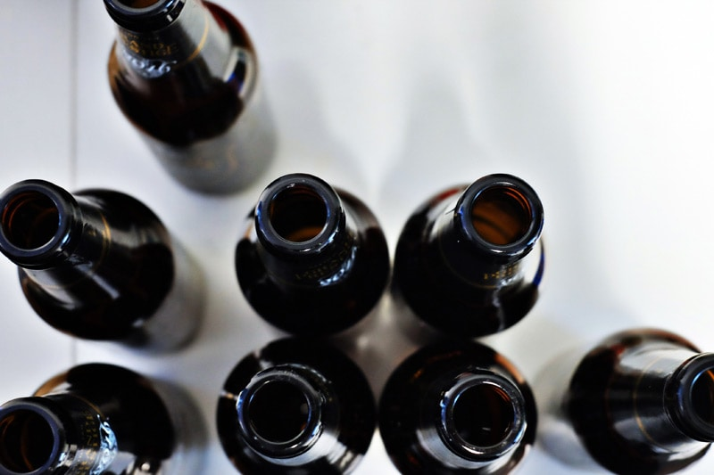 empty beer bottles viewed from above