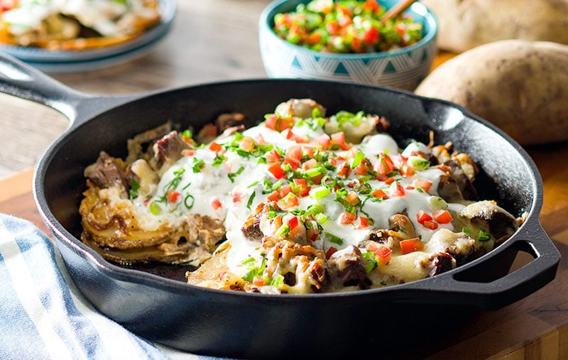 Steak and potato skillet taco