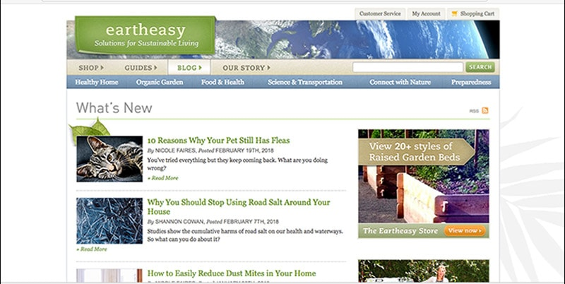 Eartheasy's previous blog landing page