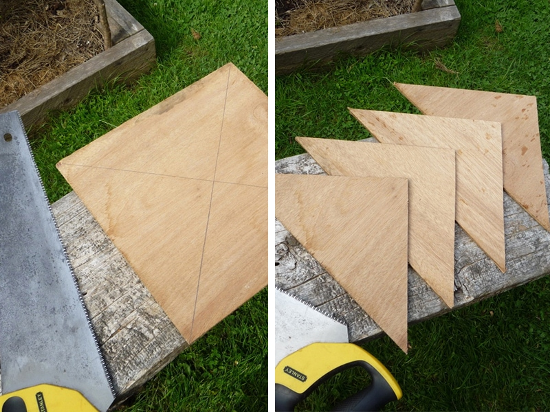 Each square yields 4 gussets. Cut two squares of plywood to get the 8 gussets needed.
