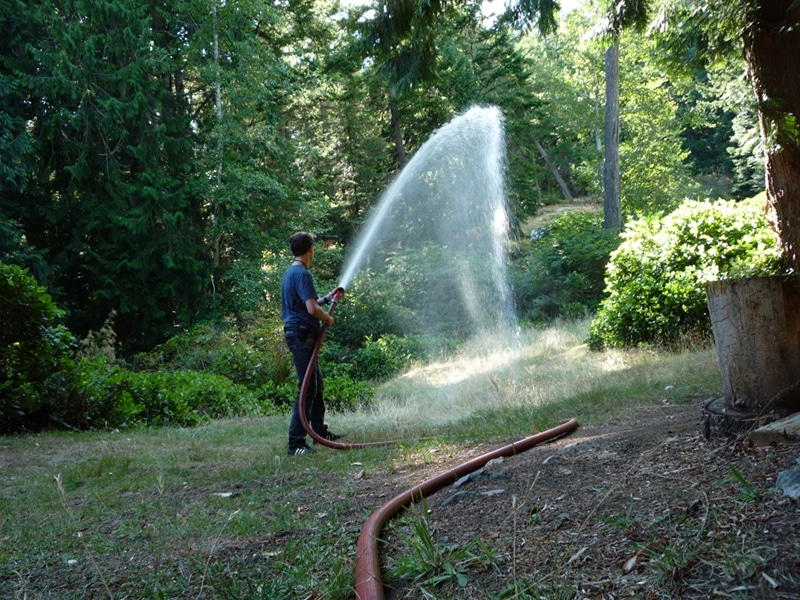 ...or to a narrow stream for focused soaking. Spray adjustments can be made at the nozzle.