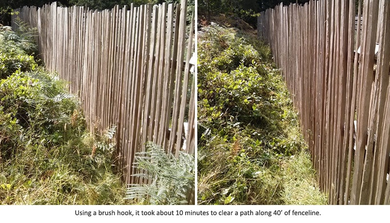 two images showing before and after clearing a fence line with a brush hook