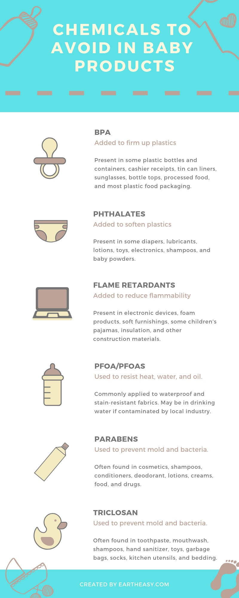 Chemicals to avoid in baby products infographic