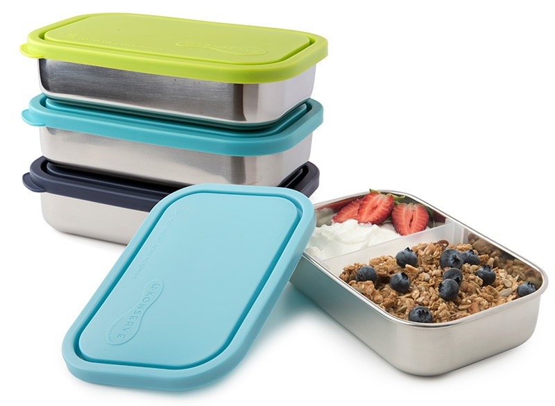 divided bento style stainless steel lunch kit