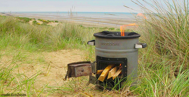 Ecozoom rocket stove on beach