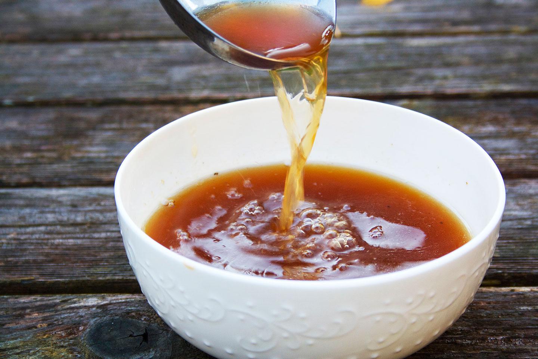 bowl of golden bone broth
